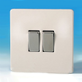Varilight 2 Gang 2 Way 10A Rocker Light Switch Screwless Premium White Dec Switch - XDQ2S